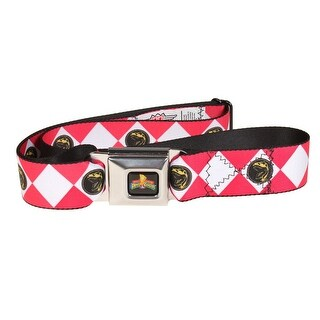 Power Rangers Logo Ranger Diamonds Adult Seatbelt Belt-Holds Pants Up (Option: Pink - One Size Fits most)