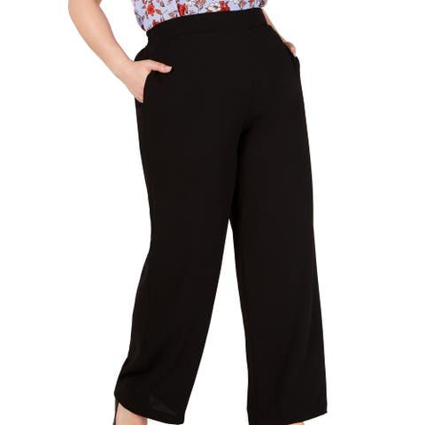 Bar III Women's Pants Plus Flare Bottom Solid Stretch