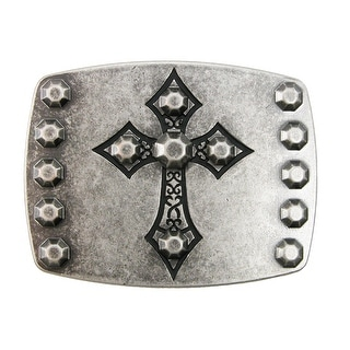 Chrome Cross on Antiqued Nickel Belt Buckle - Silver - One Size