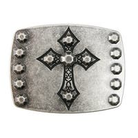 Chrome Cross on Antiqued Nickel Belt Buckle