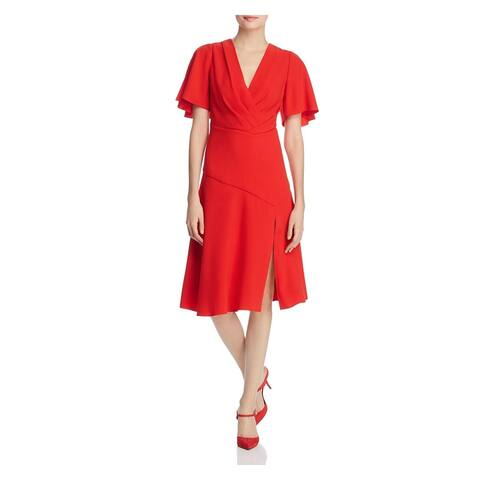 ELIE TAHARI Womens Red Short Sleeve Knee Length Sheath Dress Size 8