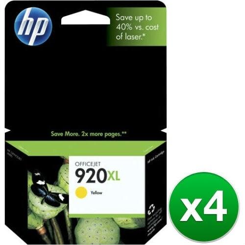 HP 920XL High Yield Yellow Original Ink Cartridge (CD974AN)(4-Pack)
