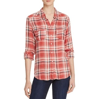 Paige Womens Mya Button-Down Top Plaid Front Pockets - s