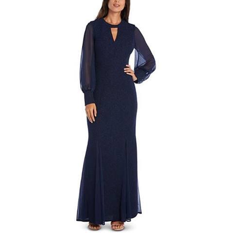R & M Richards Women's Long Sleeve Dress, Navy, 4