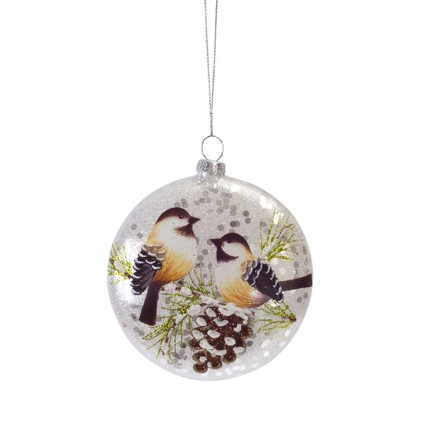 """Club Pack of 12 Glittered Yellow Finch and Pinecone Glass Disc Christmas Ornament 4"""" - silver"""