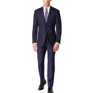 DKNY Slim Fit Navy Blue Wool Suit 44 Long Flat Front Pants 37W