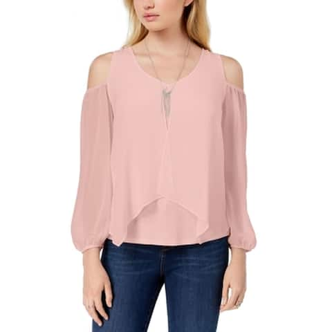 BCX Pink Size Small S Junior Cold-Shoulder Necklace Sheer Blouse
