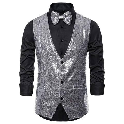 Men Shiny Sequin Vest Party Dress Suit Vest Waistcoat