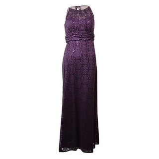 R&M Richards Women's Sleeveless Sequined Lace Halter Gown