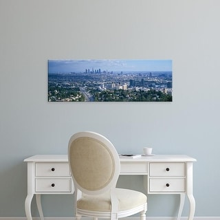 Easy Art Prints Panoramic Images's 'Aerial view of a city, Los Angeles, California, USA' Premium Canvas Art