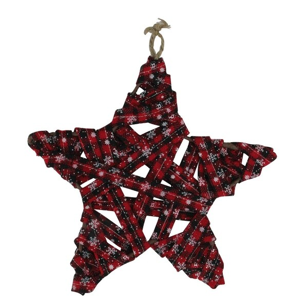 "10.5"" Red and Black Snowflake Plaid Wrapped Star Christmas Ornament"