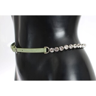 Dolce & Gabbana Green Leather Clear Crystal Waist Belt - 70-cm-28-inches