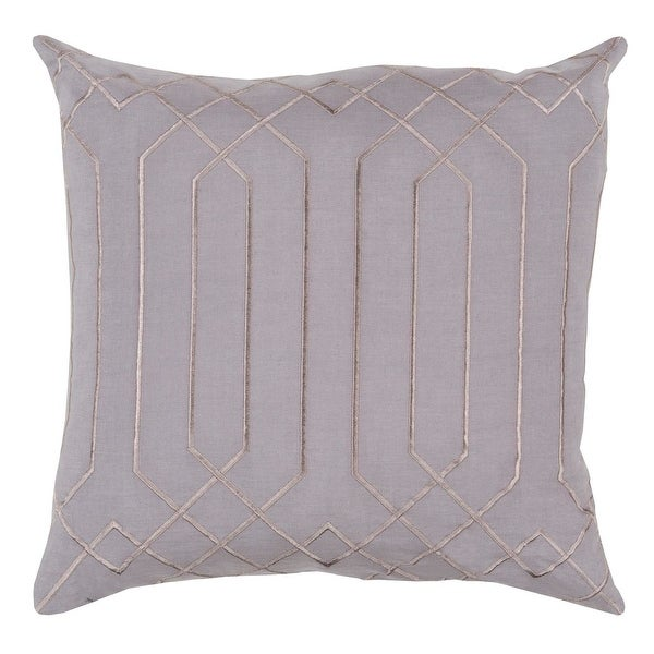 "22"" Mirror Style Lavender Gray and Bisque Decorative Throw Pillow"