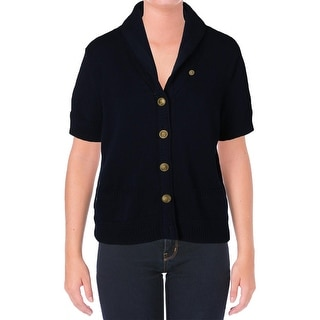 Lauren Jeans Co. Womens Cotton Contrast Trim Cardigan Sweater - L