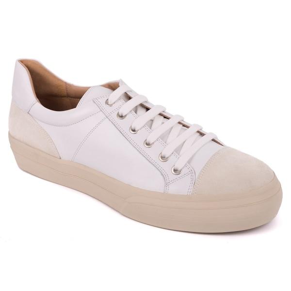 Shop Dries Van Noten Women s White Leather Low Top Cap Toe Sneakers ... 320356c67