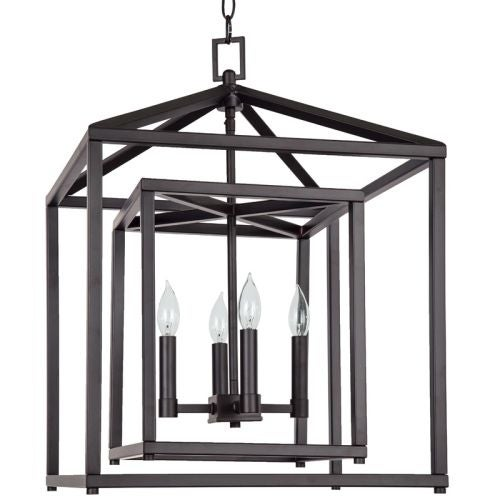 """Park Harbor PHPL5114 17"""" Wide 4 Light Single Tier Candle Style Chandelier with Lantern Style Shade"""
