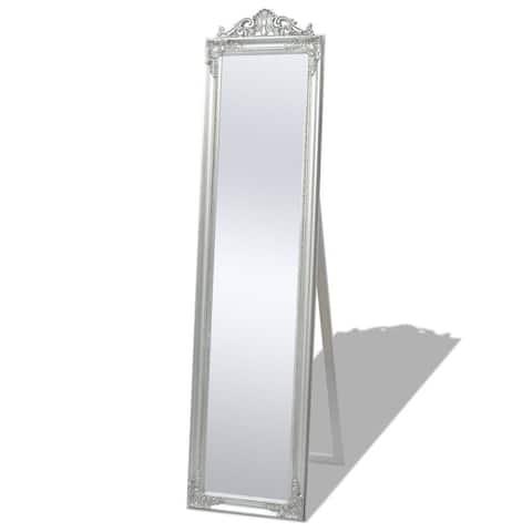 "vidaXL Free-Standing Mirror Baroque Style 63""x15.7"" Silver"