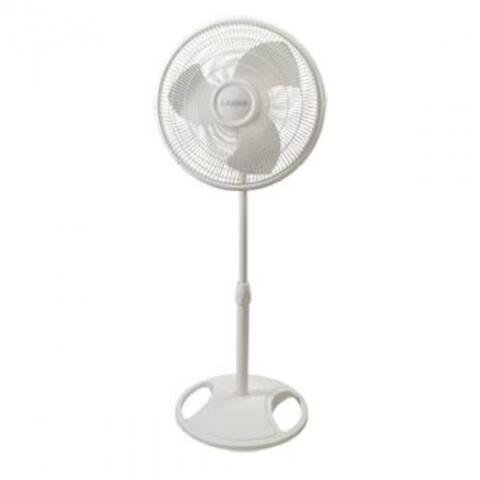 """Lasko 2520 Oscillating Stand Fan with 3 Quiet Speeds, White, 16"""""""
