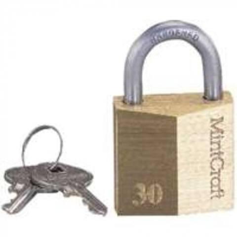 "Mintcraft HD10030-3L 1-1/4"" Brass Padlock"