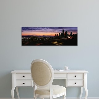 Easy Art Prints Panoramic Images's 'Seattle, Washington skyline at sunset' Premium Canvas Art