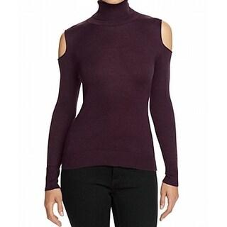 T Tahari NEW Purple Womens Size L Turtleneck Cold-Shoulder Sweater