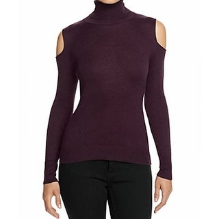 T Tahari NEW Purple Womens Size S Turtleneck Cold-Shoulder Sweater
