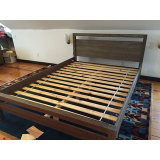 Grain Wood Furniture Loft Solid Wood Queen-size Panel Platform Bed