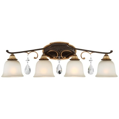 """Metropolitan N1464-652 4 Light 32"""" Wide Bathroom Vanity Light with Driftwood Glass Shades and Crystal Accents from the Chateau"""