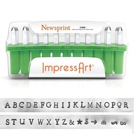 ImpressArt 33-Piece Deluxe Uppercase Alphabet Stamps 'Newsprint' 1/8 Inch (3mm) - 1 Set
