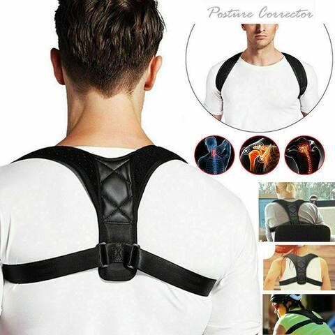 Posture Corrector Humpback Correction Belt Breathable Adjustable Straps - Black