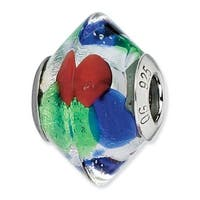 Italian Sterling Silver Reflections Blue/Green/Red/Silver Bead