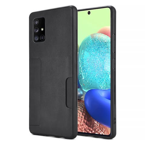 Leather Back Cover Protective Card Holder Case for Samsung Galaxy A71
