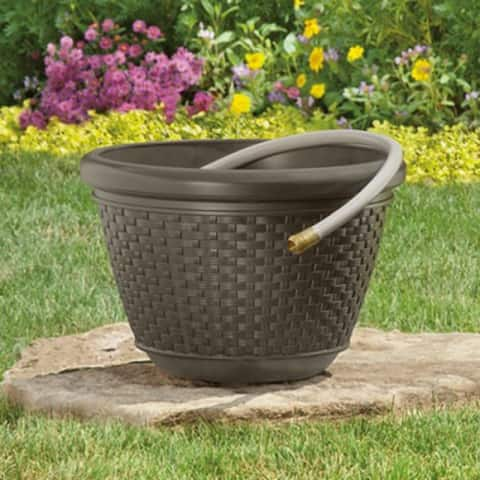 SuncastA HPW100 Resin Wicker Design Garden Hose Pot, Java, 100' Capacity