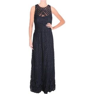 Vera Wang Womens Evening Dress Lace High Neck