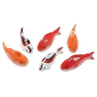 Art & Artifact Ceramic Floating Koi Fish - Set of 6 Multi-Colored Goldfish - 4.5 in. x 1 in. x 4.5 in.