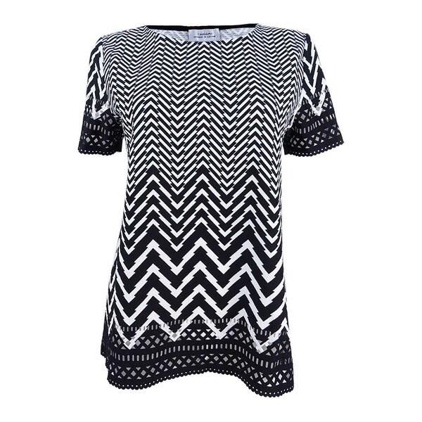 78f25904555 Shop Tahari ASL Women s Textured Chevron-Print Top (S