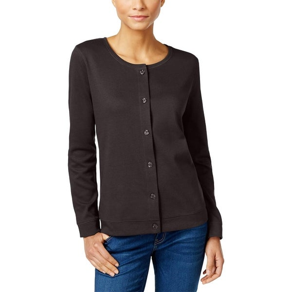 Karen Scott Womens Cardigan Top Knit Button Front