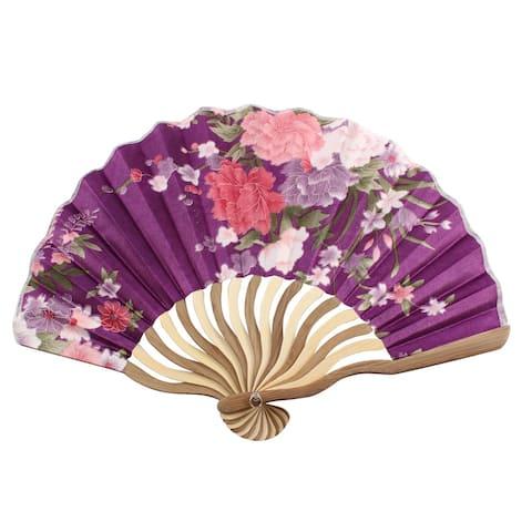 Unique Bargains Dancer Party Flower Pattern Nylon Bamboo Portabie Foldable Hand Held Fan Gift