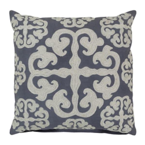 18 Stone Blue and Buttermilk White Handmade Decorative Throw Pillow-Down Filler