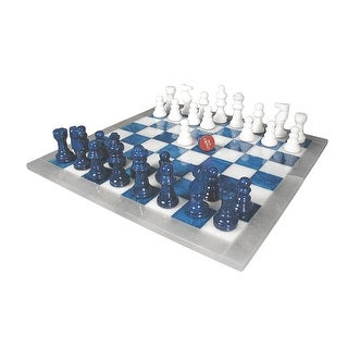 Blue & White Alabaster Chess Set - Multicolored