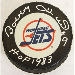 Bobby Hull Signed Winnipeg Jets Logo Hockey Puck w/HOF 1983