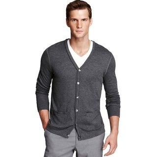 Bloomingdales Mens Lightweight Cotton Cardigan Sweater X-large XL Dark Gray