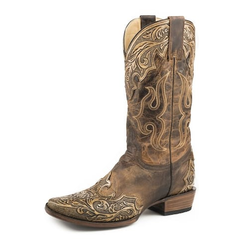Stetson Western Boots Mens Adam Oily Leather Tan