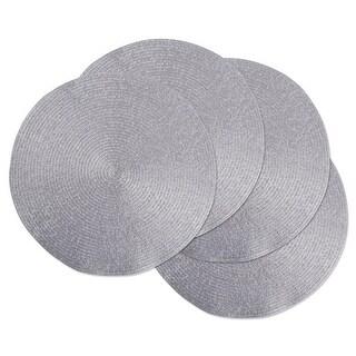 Design Imports Metallic Silver Round Polypropylene Woven Placemat Se