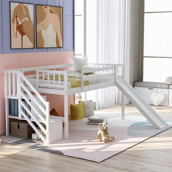 Twin Size Low Loft Bed with Adjustable Slide and Staircase, White. Opens flyout.