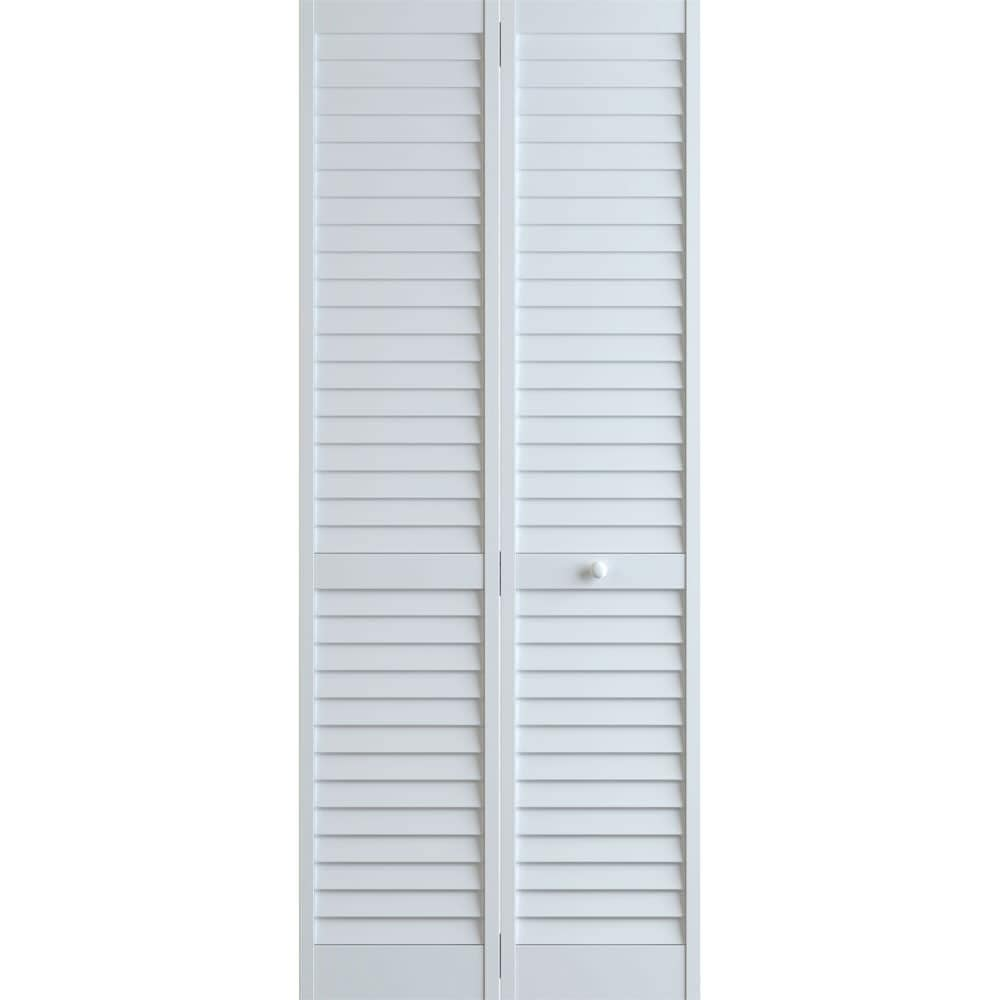 Frameport Pla Bi Nl 8x2 H Plantation 24 By 96 Louverlouver Interior Bifold Door With Installation Hardware White