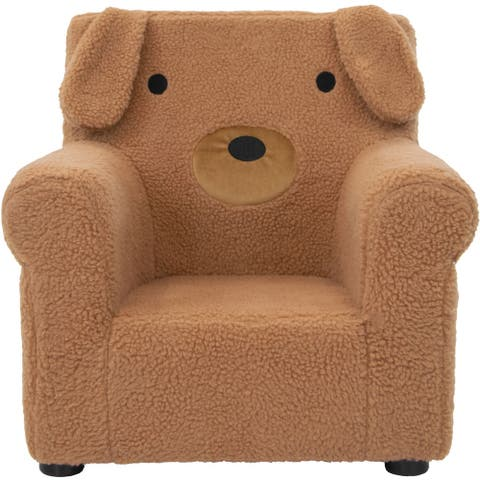 Critter Sitters 20-In. Plush Brown Dog Animal Shaped Mini Chair - Furniture for Nursery, Bedroom, Playroom, Living Room