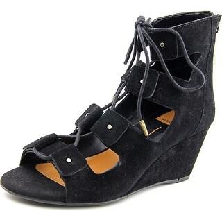 Dolce Vita Laura Women  Open Toe Suede Black Wedge Sandal