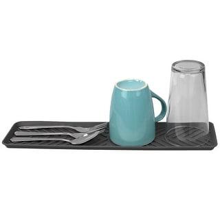 Ridged Plastic Non-Skid Dish Drying Mat, Grey