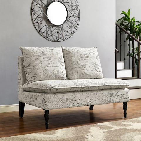 Black and White Dual Pillow Back Bench with French Script